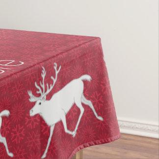 名前入りな白いカリブーのトナカイのクリスマスのおもしろい テーブルクロス