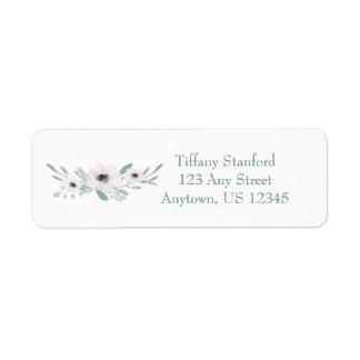 名前入りな白い水彩画の花束  返信用宛名ラベル