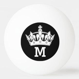 名前入りな白い王冠のモノグラム 卓球ボール
