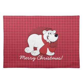 名前入りな白くまのクリスマスのランチョンマット ランチョンマット