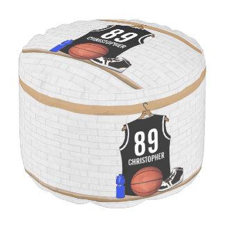 名前入りな白黒バスケットボールジャージー ラウンドクッション