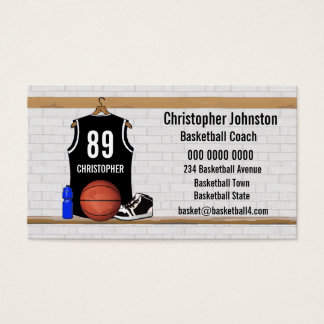 名前入りな白黒バスケットボールジャージー 名刺