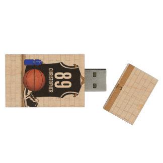 名前入りな白黒バスケットボールジャージー 木製 USB メモリ