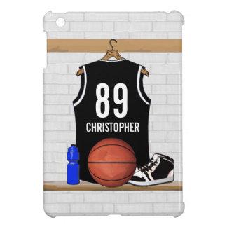 名前入りな白黒バスケットボールジャージー iPad MINIカバー