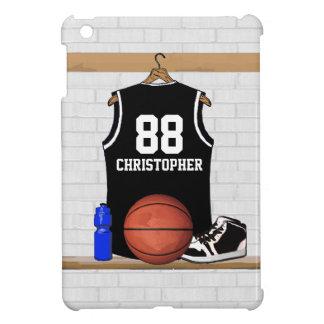 名前入りな白黒バスケットボールジャージー iPad MINI カバー