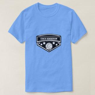 名前入りな白黒バレーボールのコーチ Tシャツ