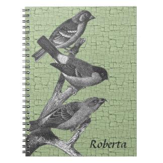 名前入りな白黒フィンチの鳥 ノートブック
