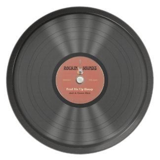 名前入りな石のレコード 皿