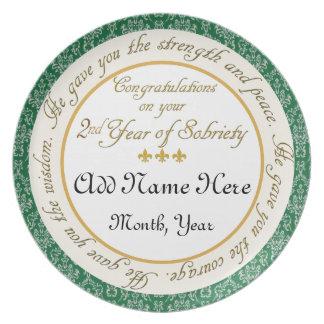 名前入りな第2年の節酒記念日のプレート プレート