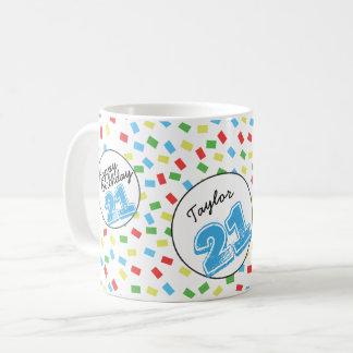 名前入りな第21誕生日のマグのフェスティバルのカラフル コーヒーマグカップ