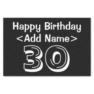 名前入りな第30誕生日のテーマのティッシュペーパー 薄葉紙