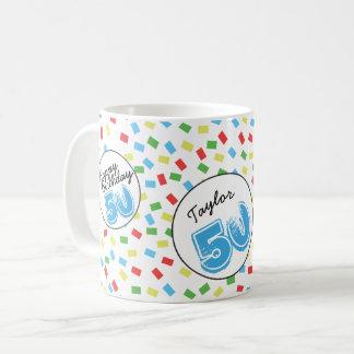 名前入りな第50誕生日のマグのフェスティバルのカラフル コーヒーマグカップ