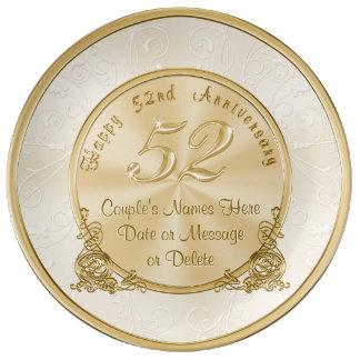 名前入りな第52記念日のギフトの磁器皿 磁器プレート