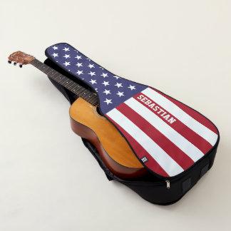 名前入りな米国の米国旗 ギターケース