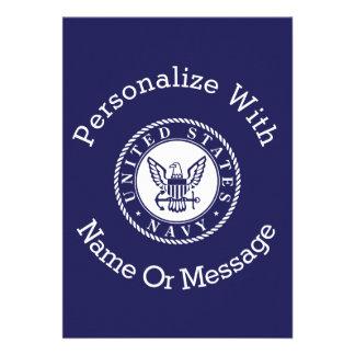 名前入りな米国海軍紋章 12.7 X 17.8 インビテーションカード