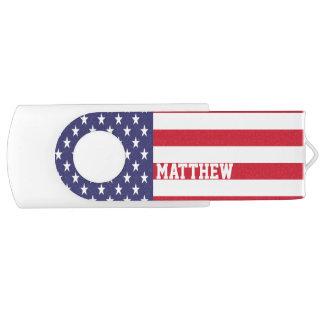 名前入りな米国米国の旗 USBフラッシュドライブ