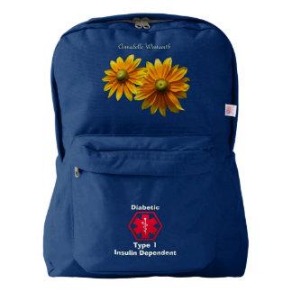 名前入りな糖尿病の花の医学警報 AMERICAN APPAREL™バックパック