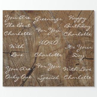 名前入りな素朴なヴィンテージの木製の白いビロード ラッピングペーパー