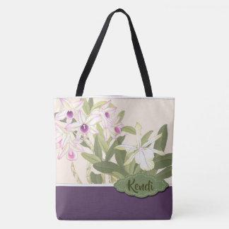 名前入りな紫色および白い蘭 トートバッグ