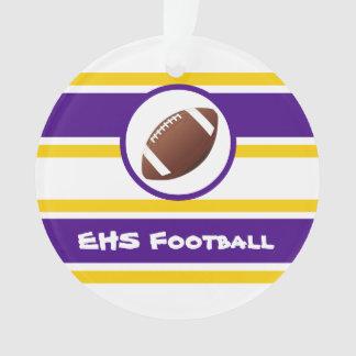 名前入りな紫色および金ゴールドのフットボールのオーナメント オーナメント