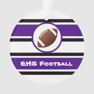 名前入りな紫色および黒いフットボールのオーナメント オーナメント