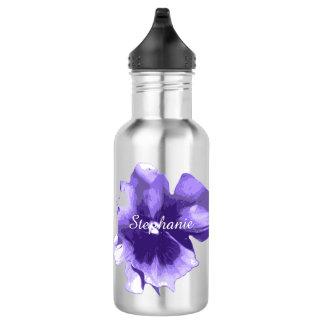 名前入りな紫色のアイリス水差し ウォーターボトル