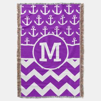 名前入りな紫色のシェブロンはパターンを固定します スローブランケット