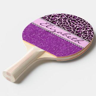 名前入りな紫色のヒョウのプリントのグリッター 卓球ラケット