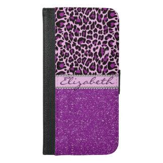 名前入りな紫色のヒョウのプリントのグリッター iPhone 6/6S PLUS ウォレットケース