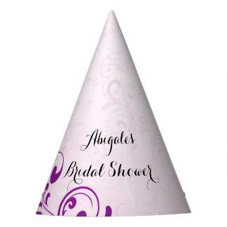 名前入りな紫色のブライダルシャワーのパーティの帽子 パーティーハット