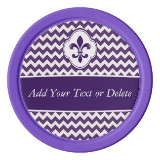 名前入りな紫色の白い(紋章の)フラ・ダ・リシェブロン ポーカーチップ