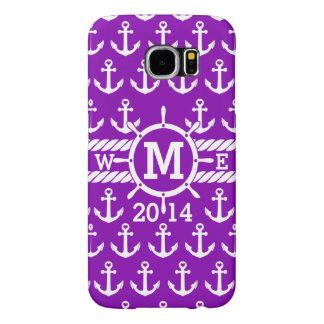 名前入りな紫色の航海のないかりパターン SAMSUNG GALAXY S6 ケース