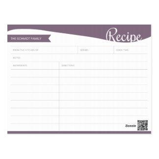 名前入りな紫色及び白いレシピカード ポストカード
