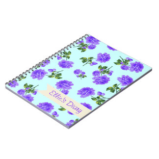 名前入りな紫色及び青のぼろぼろのシックなバラ ノートブック