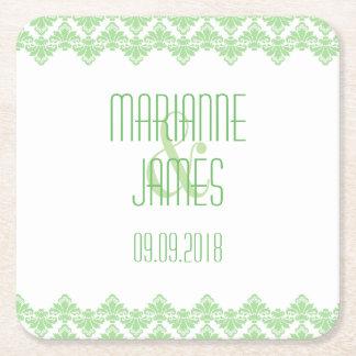 名前入りな結婚式のコースターの春の緑2のダマスク織 スクエアペーパーコースター