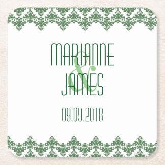 名前入りな結婚式のコースターの深緑色の2ダマスク織 スクエアペーパーコースター