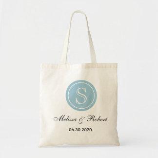 名前入りな結婚式のモノグラムの戦闘状況表示板Bag|Blue トートバッグ