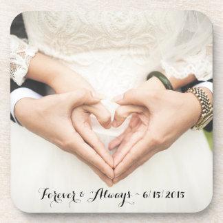 名前入りな結婚式の写真永久に及び常に ドリンクコースター