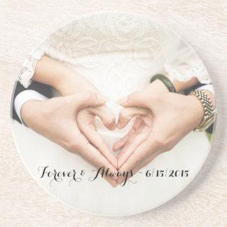 名前入りな結婚式の写真永久に及び常に ビバレッジコースター