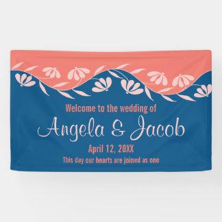 名前入りな結婚式の旗の珊瑚の青い花柄 横断幕