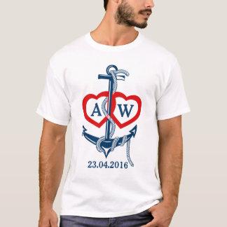 名前入りな結婚式のTシャツの航海のないかり Tシャツ