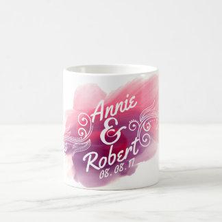 名前入りな結婚祝いの水彩画 のクラシックなマグ コーヒーマグカップ