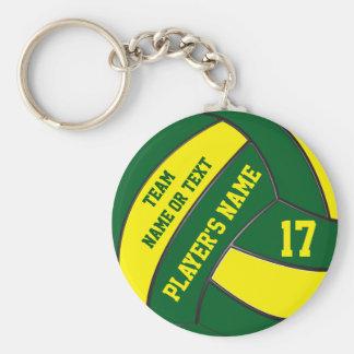 名前入りな緑および金ゴールドのバレーボールのキーホルダー ベーシック丸型缶キーホルダー