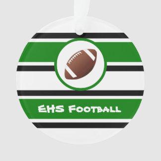 名前入りな緑および黒いフットボールのオーナメント オーナメント