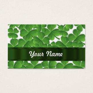 名前入りな緑のアイルランドのシャムロック 名刺