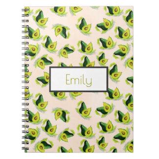名前入りな緑のアボカドの水彩画パターン ノートブック