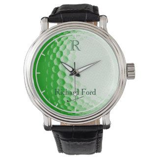名前入りな緑のゴルフ・ボール 腕時計