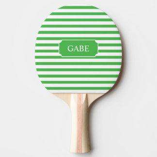 名前入りな緑のストライプの卓球ラケット 卓球ラケット