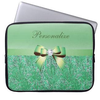 名前入りな緑のスパンコール、弓及びダイヤモンド ラップトップスリーブ