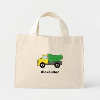 名前入りな緑のダンプトラック ミニトートバッグ